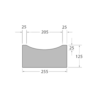 Concrete Kerb Dished Channel 255mm x 125mm x 915mm