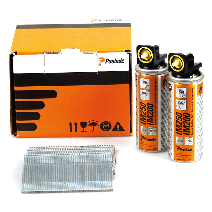Paslode 921590 F16 x 45mm Galvanised (Pack of 2000 & 2 Fuel Cells) image 0
