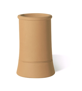 Terracotta Chimney Pot Plain Roll Top Buff 600mm