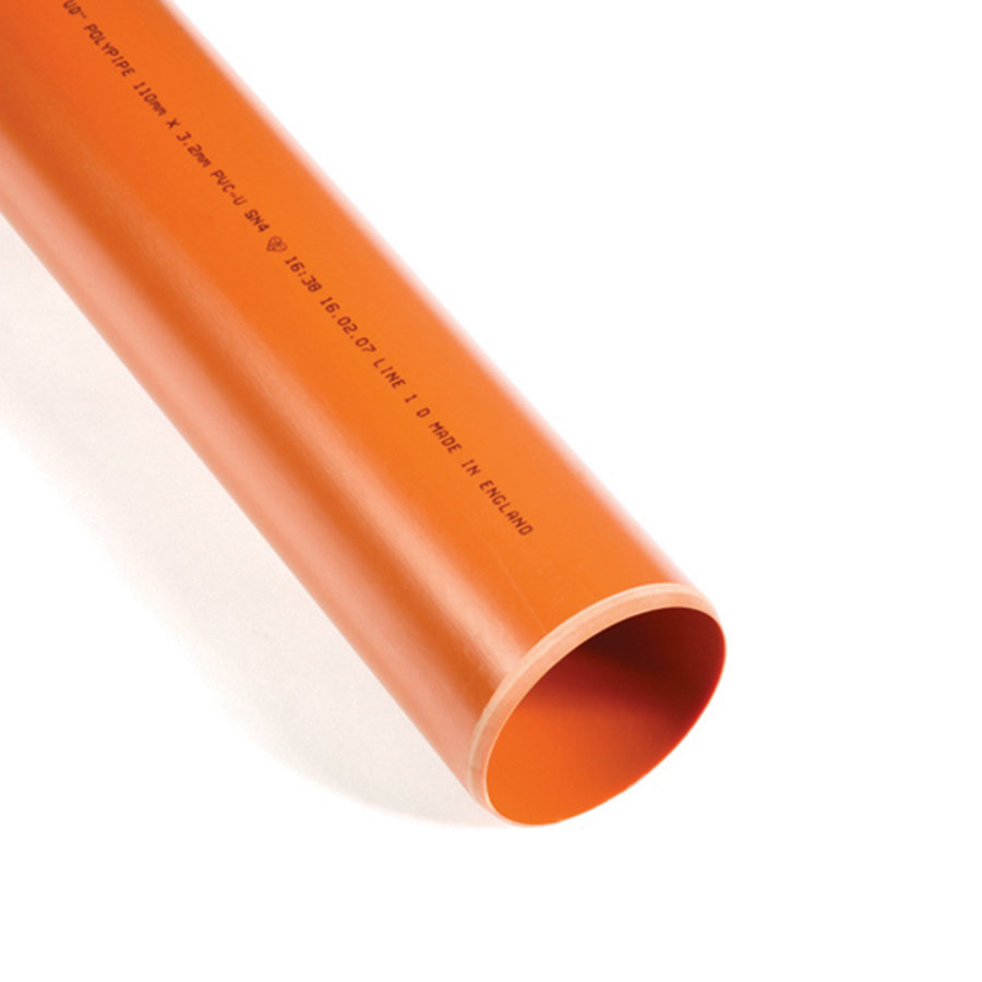 Polypipe Underground Drain 110mm 3m Plain Ended Pipe UG430 image 0