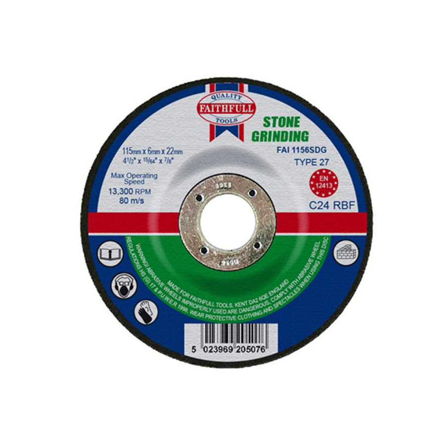 Faithfull Grinding Disc for Stone Depressed Centre 115mm x 6.5mm x 22mm image 0