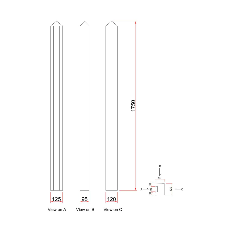 Concrete Post Slotted End 100mm x 125mm x 1.75m image 3
