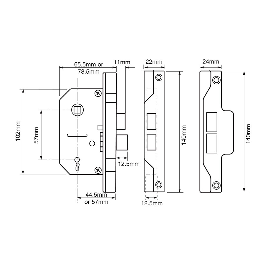Union Y2242 2 66mm Rebated Mortice Lock Lever Electro Brass Mortise Diagram