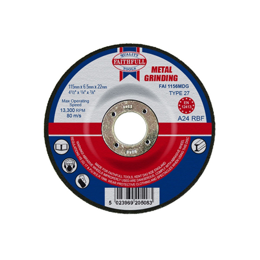 Faithfull Grinding Disc for Metal Depressed Centre 115mm x 6.5mm x 22mm image 0