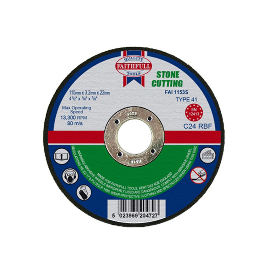 Faithfull Cut Off Disc for Stone 115mm x 3.2mm x 22mm image 0