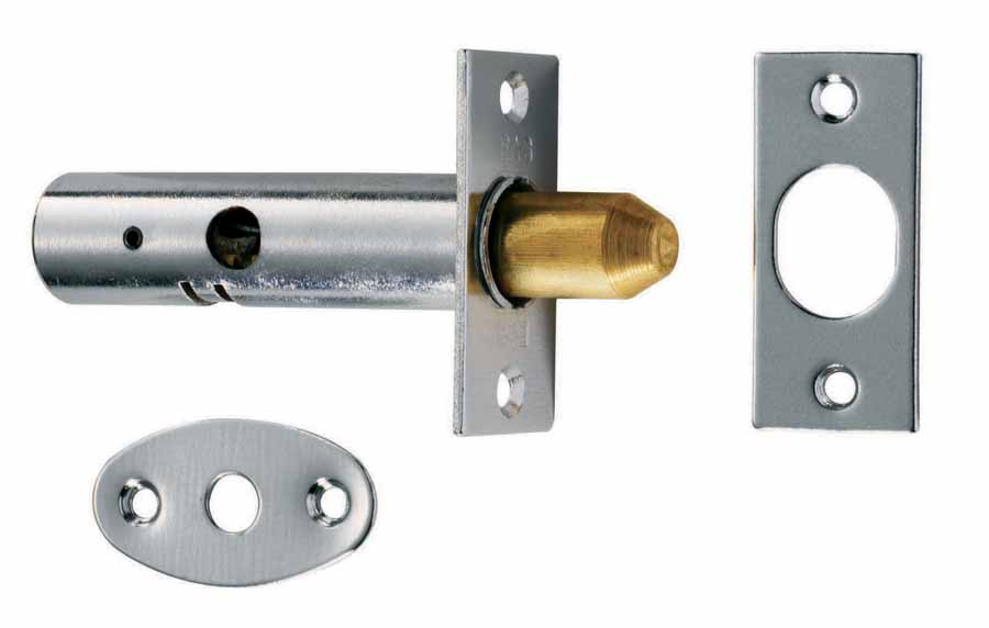 Door Security Pack with 2 Bolts & 1 Key Chrome image 0