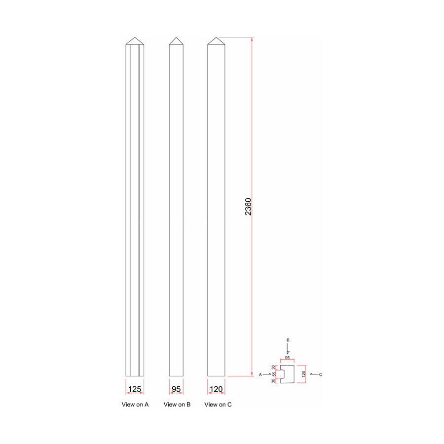 Concrete Post Slotted End 100mm x 125mm x 2.36m image 3