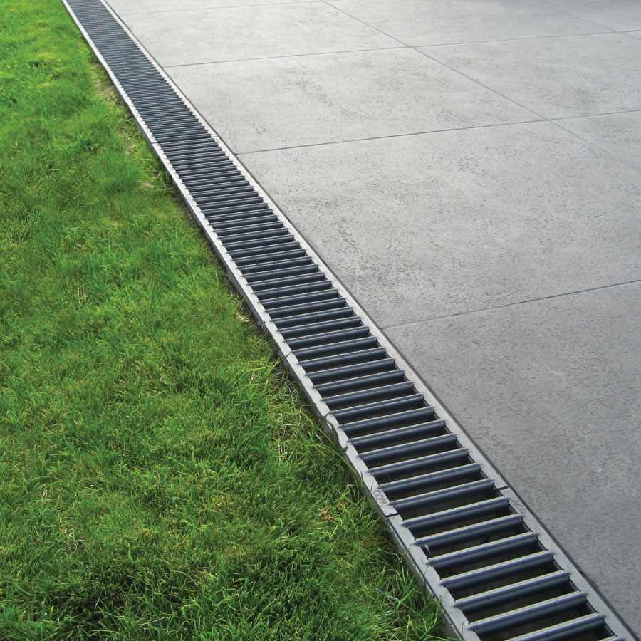 ACO RainDrain Polymer Channel 1m with Galvanised Grating image 1