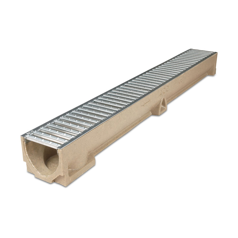 ACO RainDrain Polymer Channel 1m with Galvanised Grating image 0