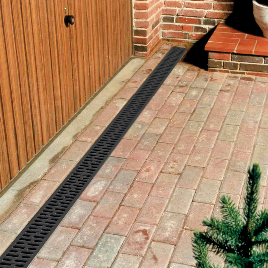 ACO HexDrain Channel 1m with Black Plastic Grating image 1