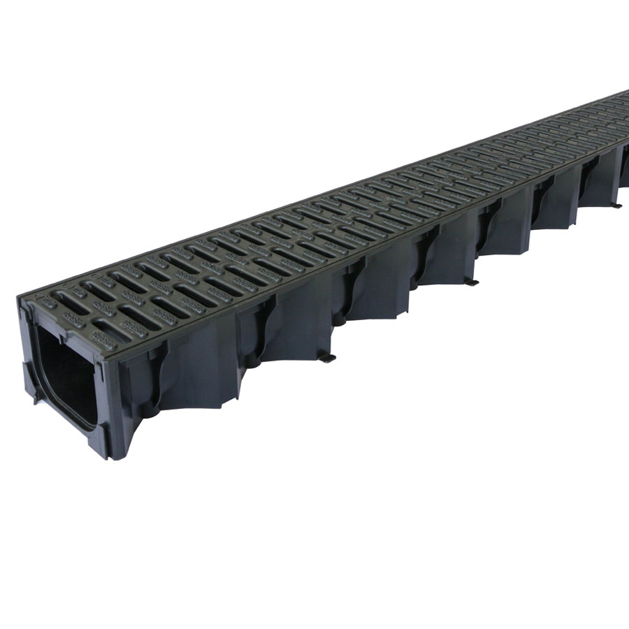 ACO HexDrain Channel 1m with Black Plastic Grating image 0