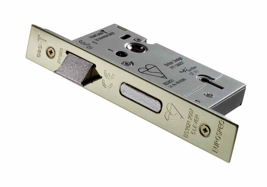 """Easi-T Mortice Lock 5 Lever BS 3"""" Stainless Steel image 0"""