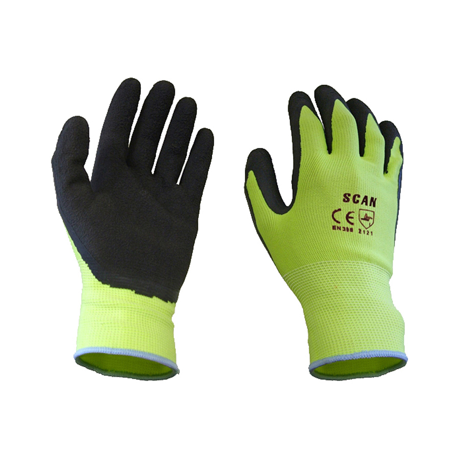 Scan Yellow Foam Latex Coated Glove 13g Size 9 (Large) image 0