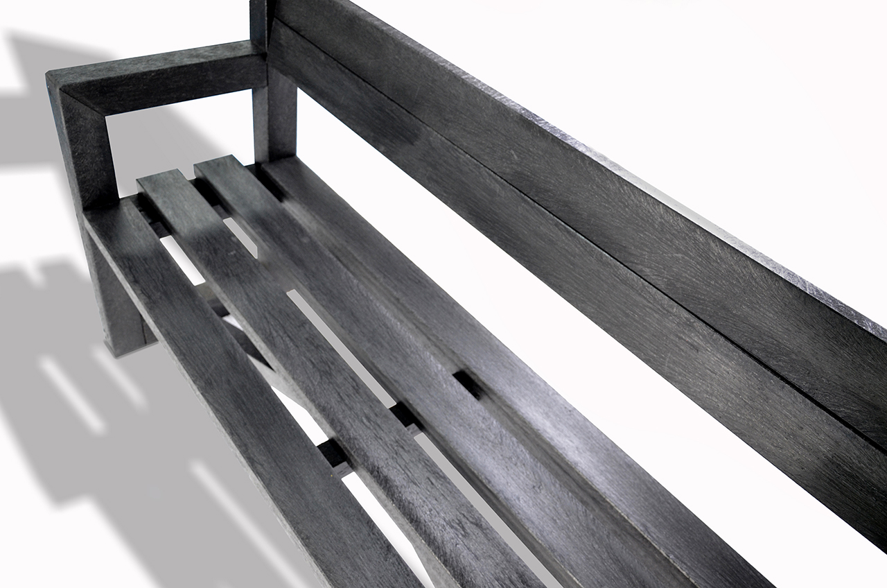 Plaswood Our City Bench Fully Assembled 1700mm - Black image 2