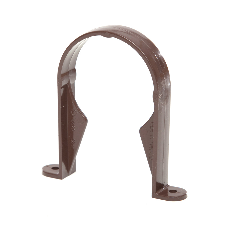 Polypipe Rainwater Round Pipe 68mm Pipe Socket Bracket Brown RR126 image 0