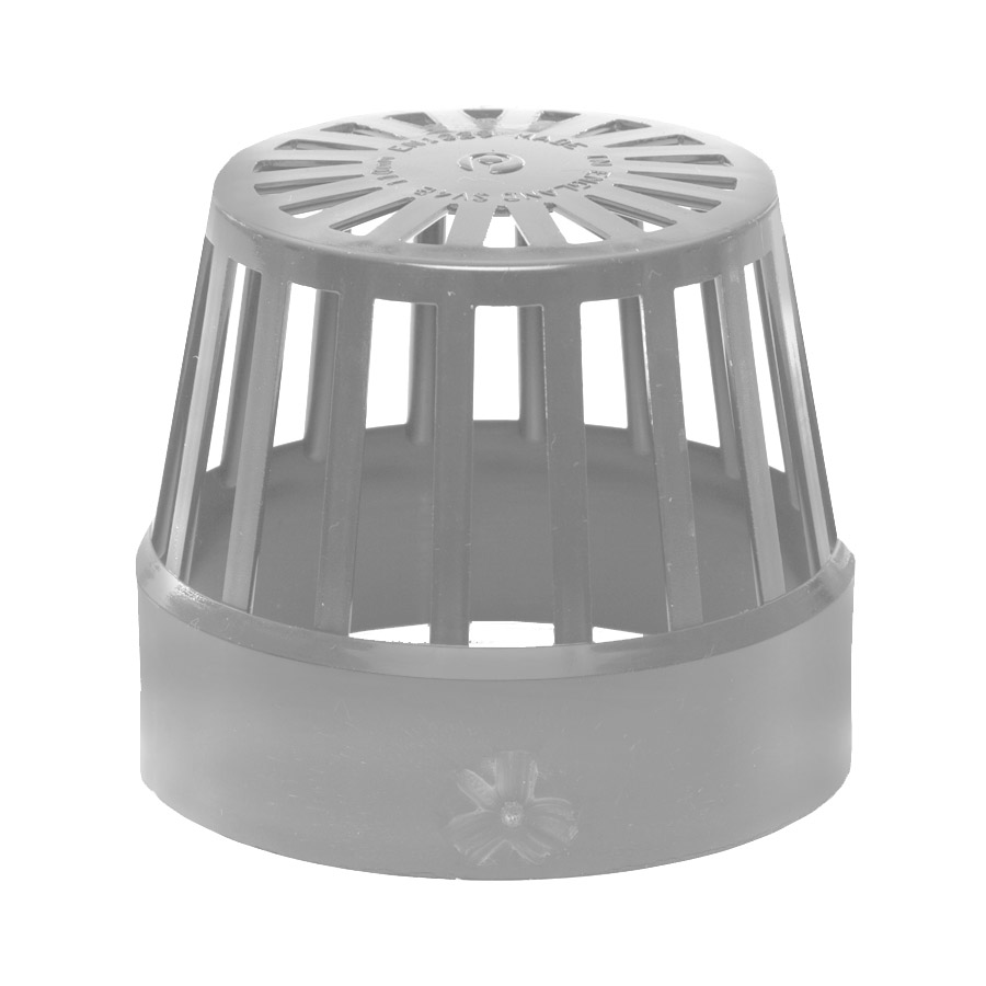 Polypipe Soil & Vent 110mm Vent Terminal (Balloon Guard) Grey SV42 image 0