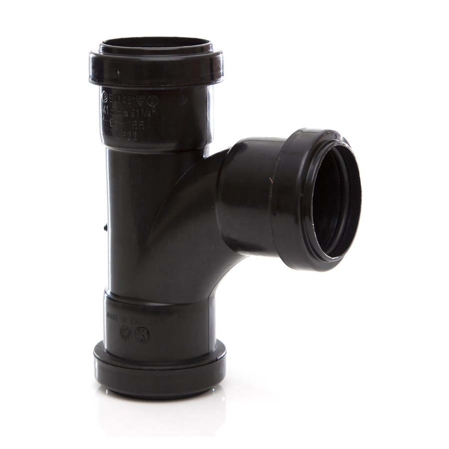 Polypipe Push-Fit Waste 40mm 91¼° Swept Tee Black WP22 image 0
