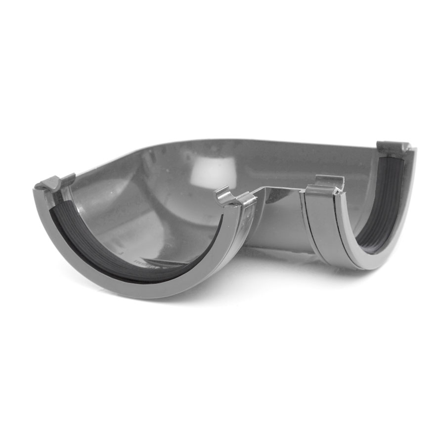 Polypipe Half Round Rainwater 112mm Gutter Angle 90° Grey RR103 image 0
