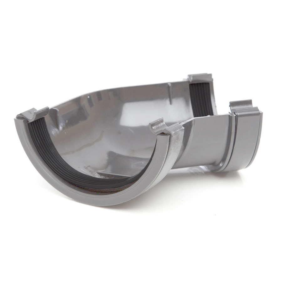 Polypipe Half Round Rainwater 112mm Gutter Angle 135° Grey RR104 image 0