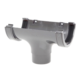 Polypipe Half Round Rainwater 112mm Gutter Run Outlet Grey RR105