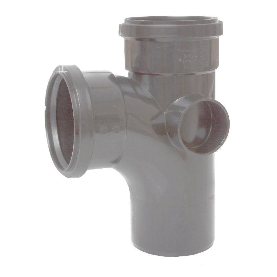 Polypipe Soil & Vent 110mm 92½° Single Branch Grey ST401 image 0