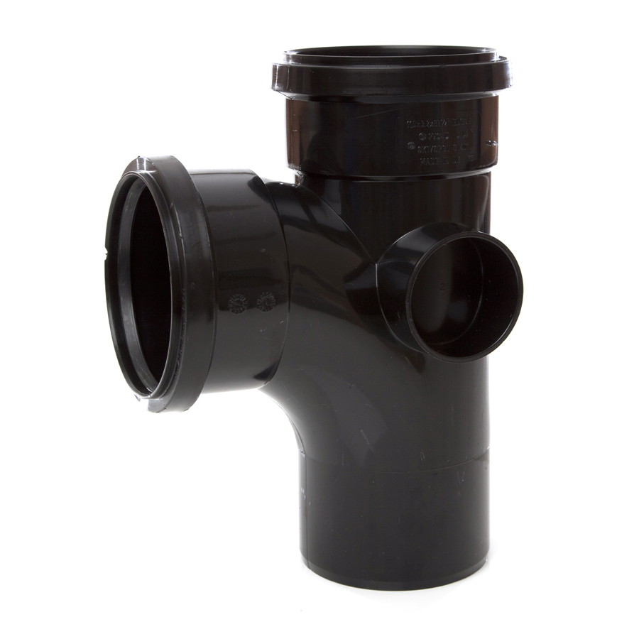 Polypipe Soil & Vent 110mm 92½° Single Branch Black ST401 image 0