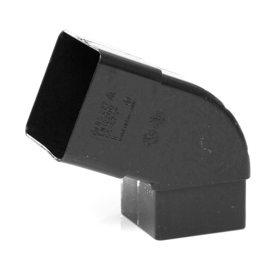 Polypipe Square Rainwater 65mm 112½° Offset Bend Black RS227 image 0