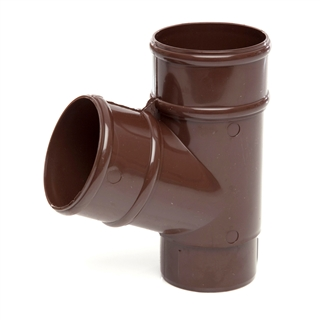 Polypipe Rainwater Round Pipe 68mm 112½° Branch Brown RR129