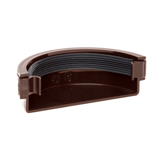 Polypipe Half Round Rainwater 112mm Gutter External Stop End Brown RR107