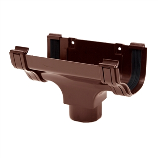 Polypipe Ogee Gutter 130mm x 70mm Running Outlet Brown ROG05
