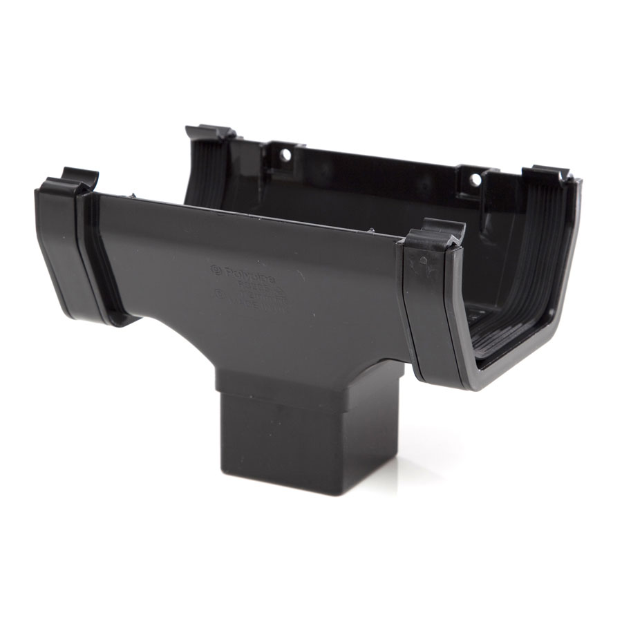 Polypipe Square Rainwater 112mm Gutter Running Outlet Black RS205 image 0