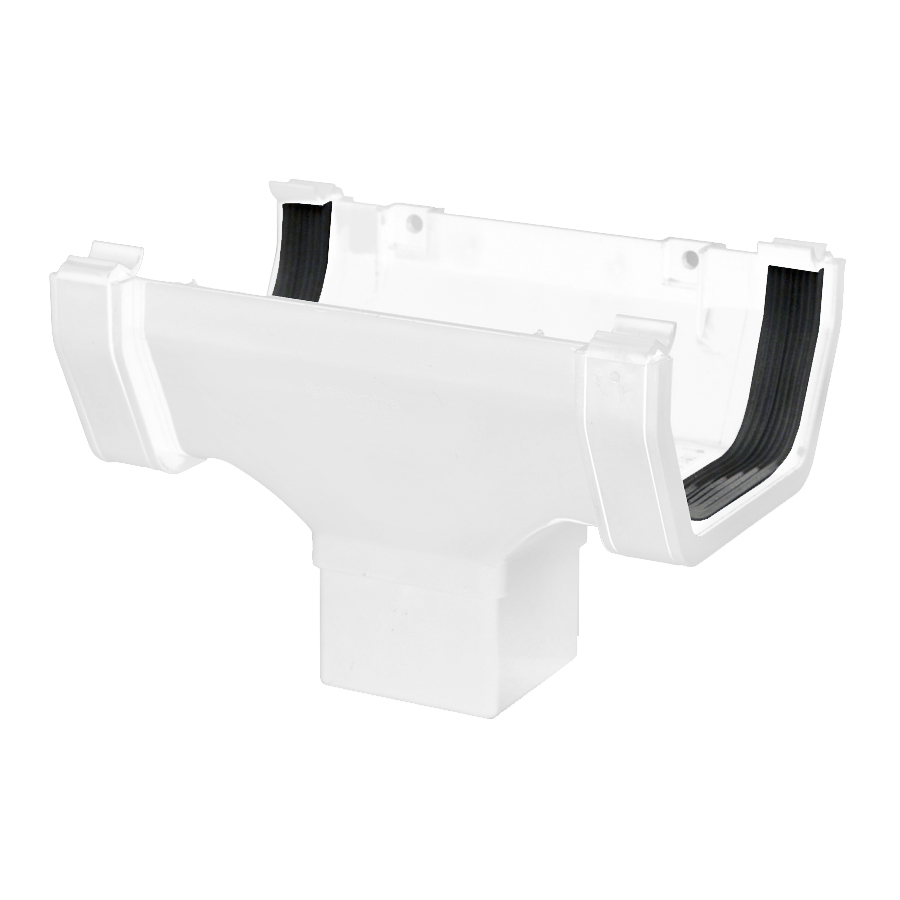 Polypipe Square Rainwater 112mm Gutter Running Outlet White RS205 image 0