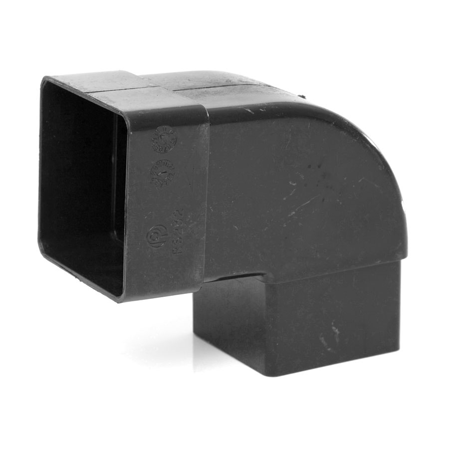 Polypipe Square Rainwater 65mm 92½° Offset Bend Black RS232 image 0