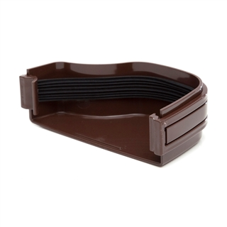 Polypipe Ogee Gutter 130mm x 70mm Stop End External Right Hand Brown ROG17