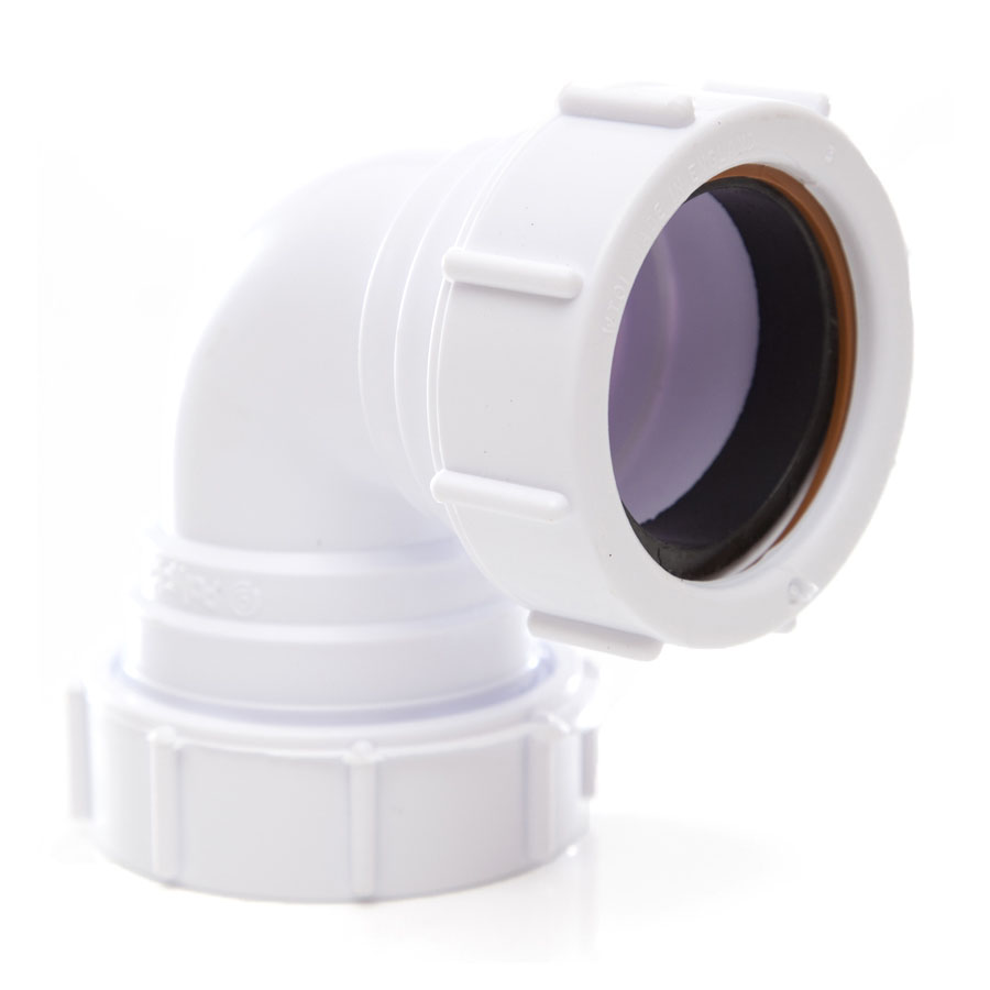 Polypipe Universal Compression Waste 40mm 90° Knuckle Bend White PS16 image 0