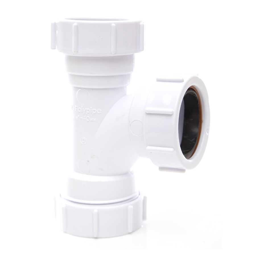 Polypipe Universal Compression Waste 32mm 91¼° Equal Tee White PS21 image 0