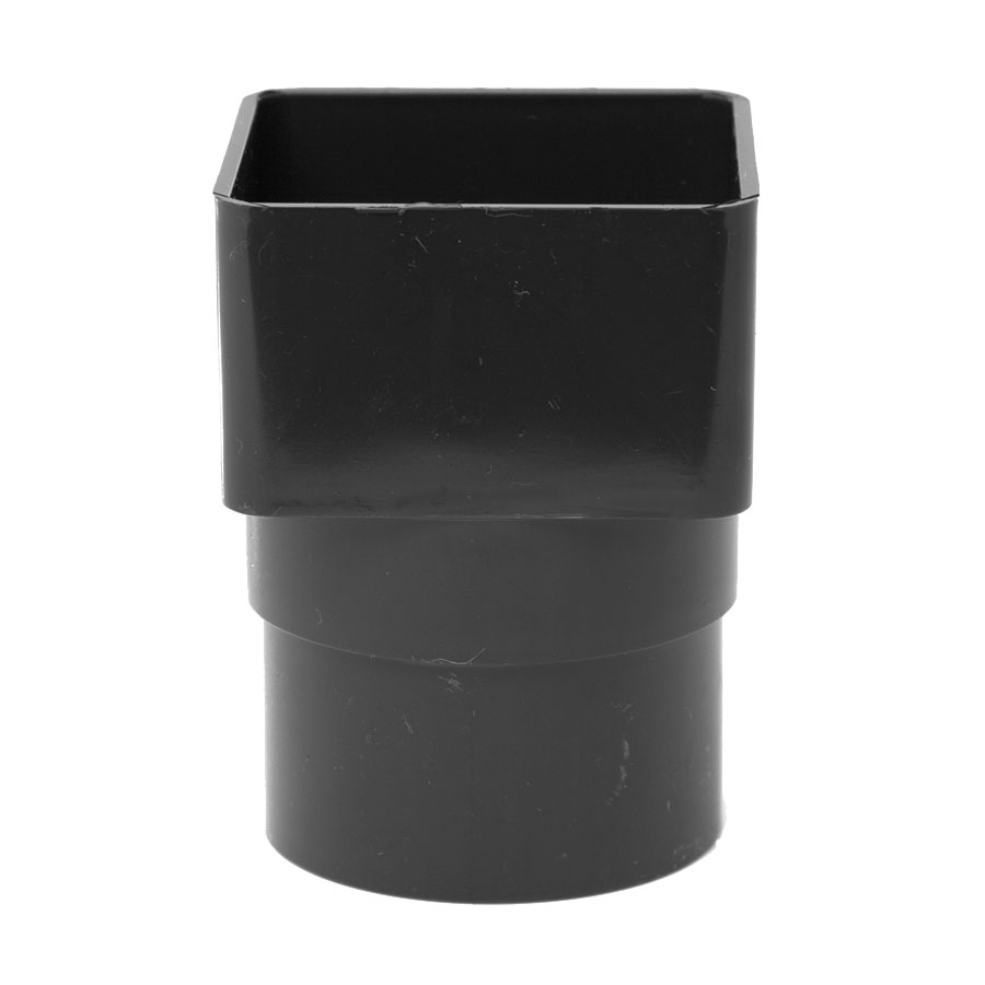 Polypipe Square Rainwater 65mm Square to Round Adapter Black RS231 image 0