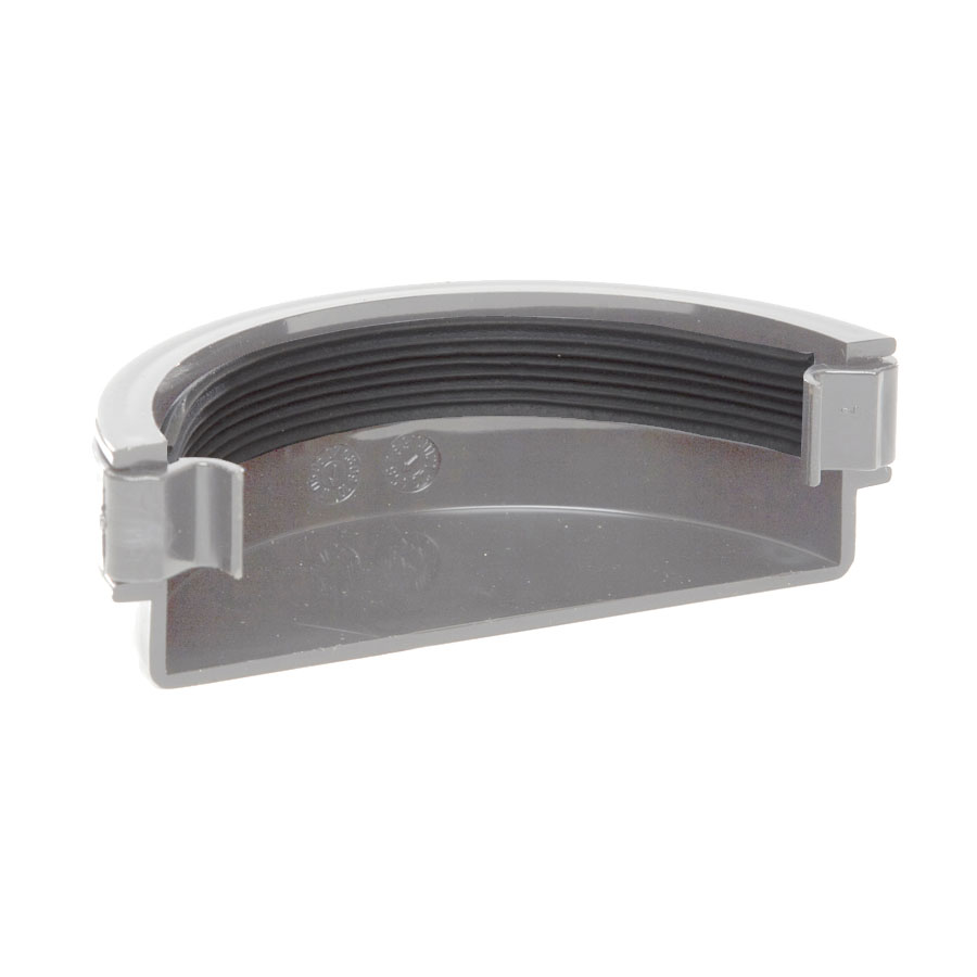 Polypipe Half Round Rainwater 112mm Gutter External Stop End Grey RR107 image 0