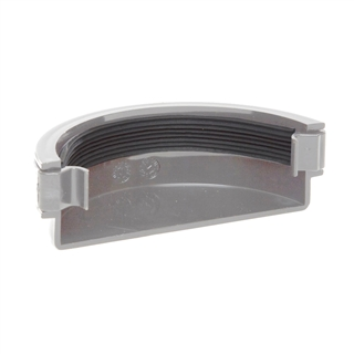 Polypipe Half Round Rainwater 112mm Gutter External Stop End Grey RR107