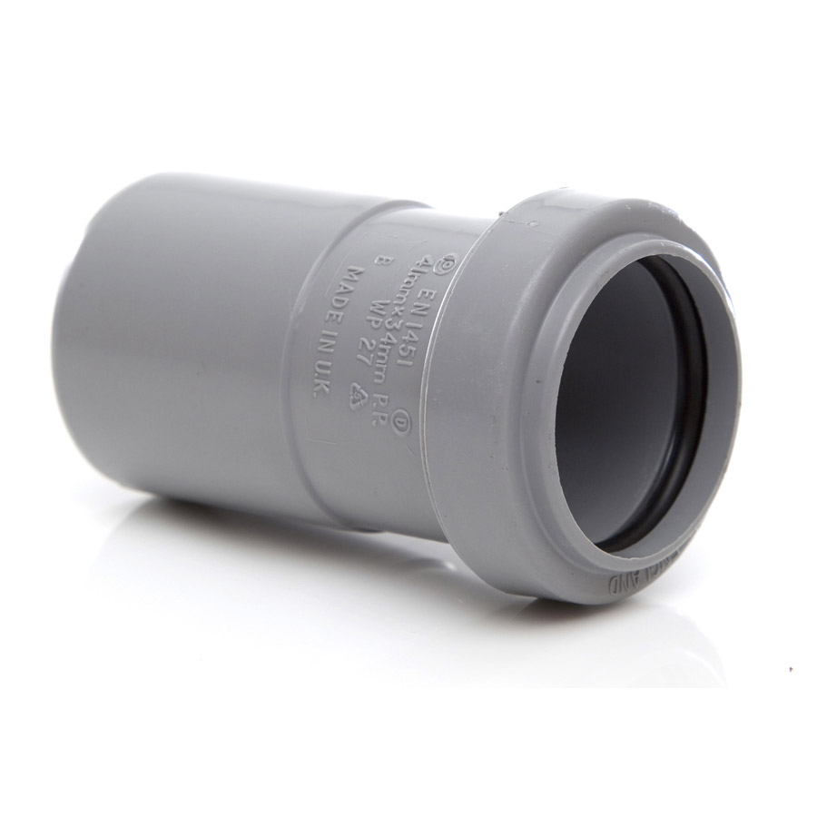 Polypipe Push-Fit Waste 40mm x 32mm Reducer Grey WP27 image 0