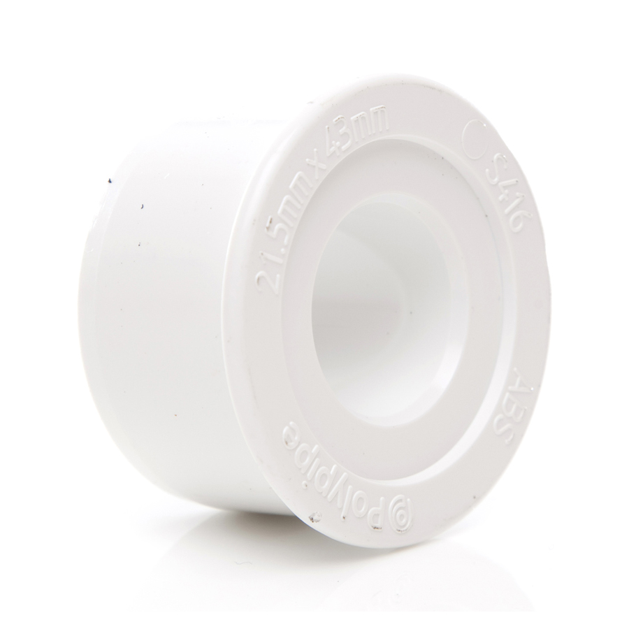 Polypipe Overflow 21.5mm Solvent Weld Reducer to 40mm White S416 image 0
