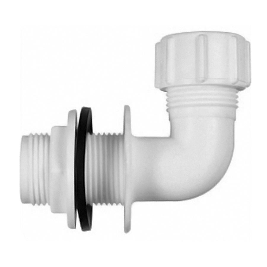 Polypipe Overflow 21.5mm Push-fit Bent Tank Connector White VP50 image 0