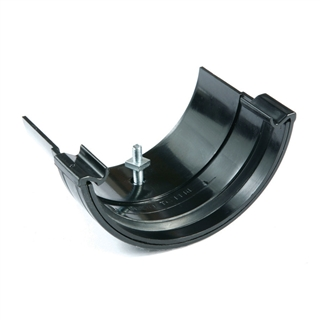 Polypipe Half Round Rainwater 112mm Plastic to Metal Adapter Black RR116