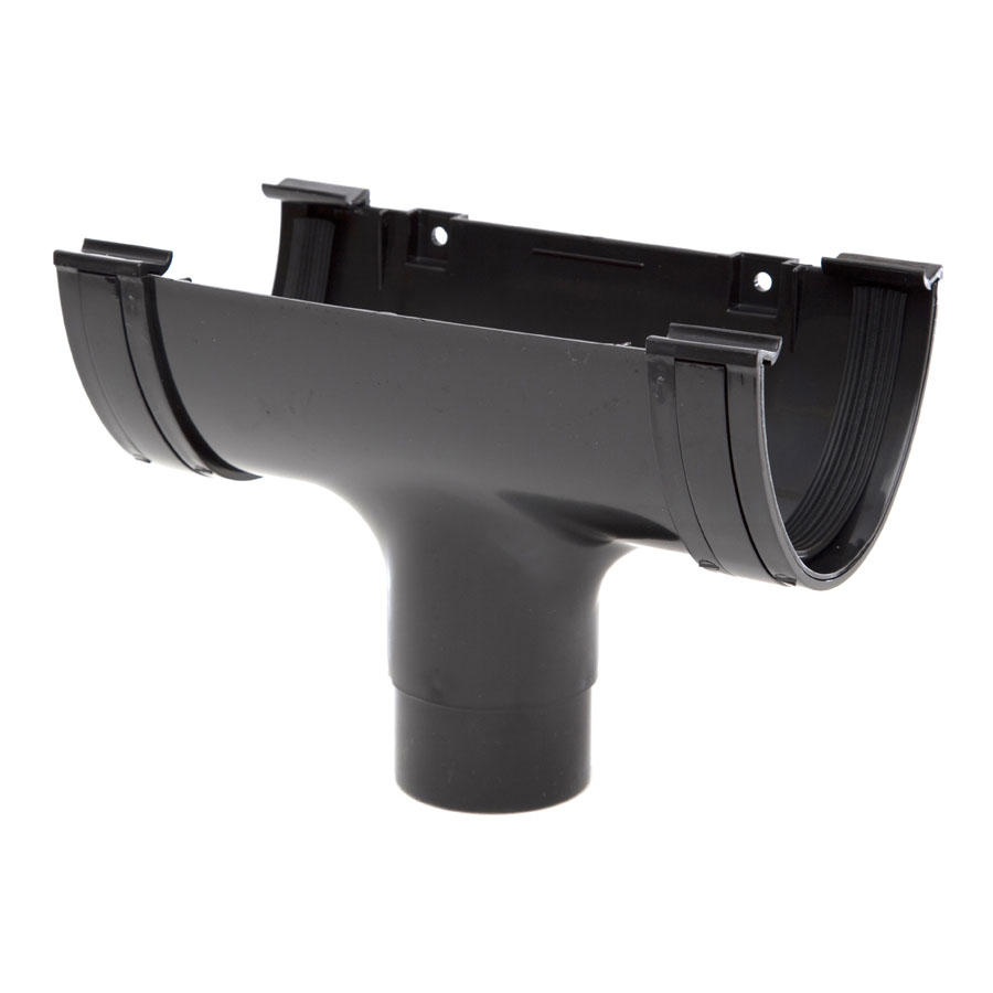 Polypipe Deep Capacity Gutter Running Outlet Black RD505 image 0