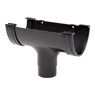 Polypipe Deep Capacity Gutter Running Outlet Black RD505