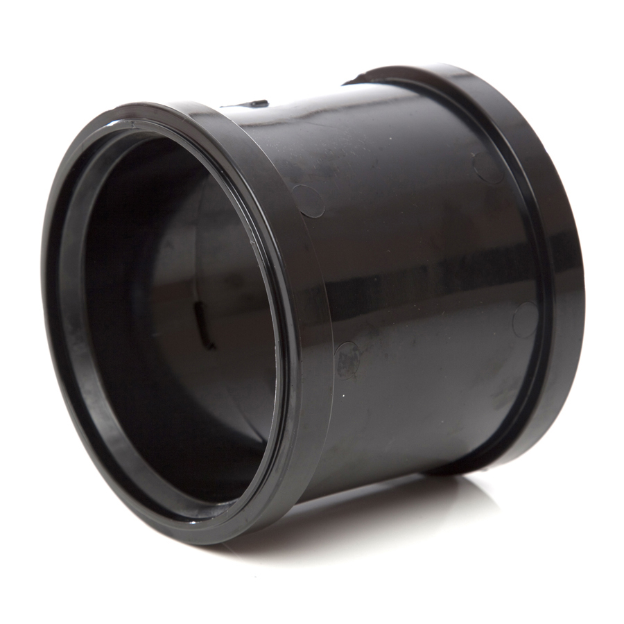 Polypipe Soil & Vent 110mm Double Socket Black SH44 image 0