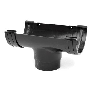 Polypipe Half Round Rainwater 150mm Gutter Running Outlet Black RL605
