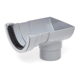 Polypipe Half Round Rainwater 112mm Short Stop End Outlet to 68mm Round Downpipe Grey RR106