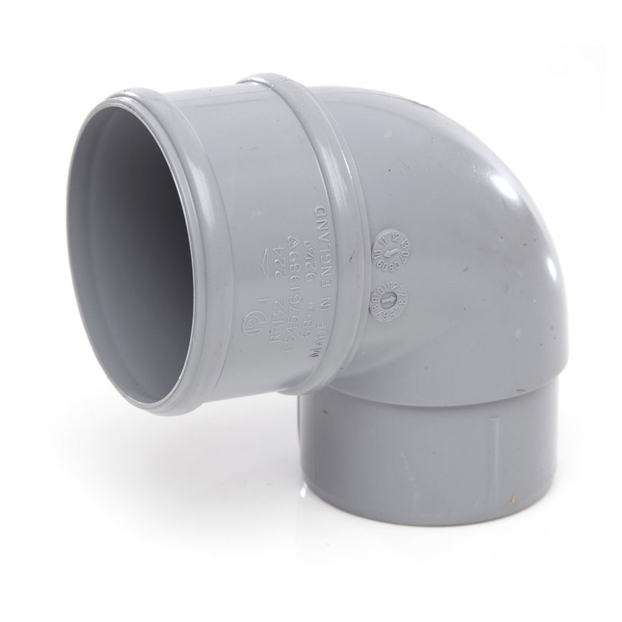 Polypipe Rainwater Round Pipe 68mm 92½° Bends Grey RR132 image 0