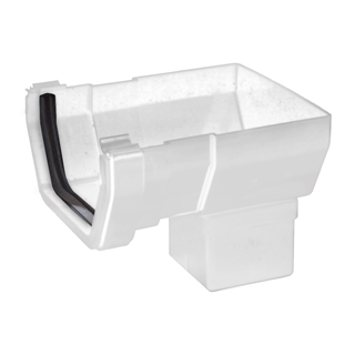 Polypipe Square Rainwater 112mm Gutter Short Stop End White RS206